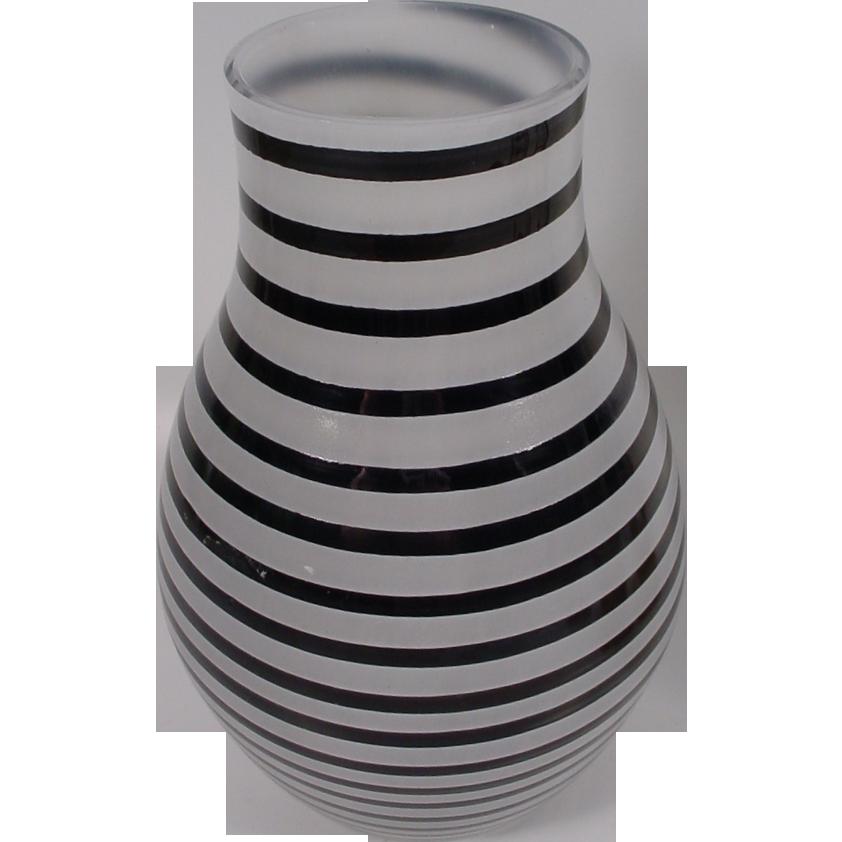 """Fabulous Kosta Boda Art Glass Vase…Black Stripes and White Frosted  """"Artist Signed"""""""