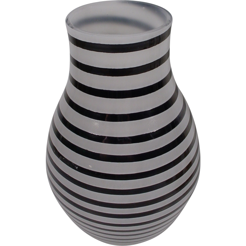 Fabulous Kosta Boda Art Glass Vaseblack Stripes And White Frosted