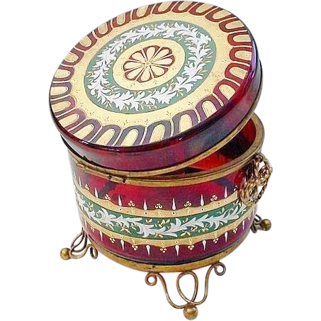 """Antique Red Bohemian Hand Enamel Casket Hinged Box DOUBLE HANDLES & FOOTED BASE"""""""
