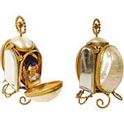 """1880 Palais Royal Mother of Pearl Scent Casket """"TWIN JEWELED TOP SCENT BOTTLES"""""""