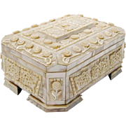 "11"" Antique Mother of Pearl Casket Hinged Box ""RARE FOOTED BASE """