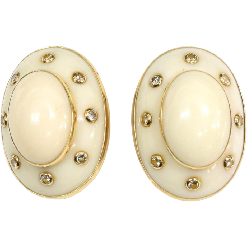 "Trianon 14KARAT Yellow Gold   White Coral and Diamond Earrings  ""Unmarked Design by Trianon for Seaman Schepps."