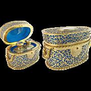 "1880  Palais Royal Blue Opaline Scent Casket "" DOUBLE HANDLES & COVERED IN GILT ORMOLU LACE"""