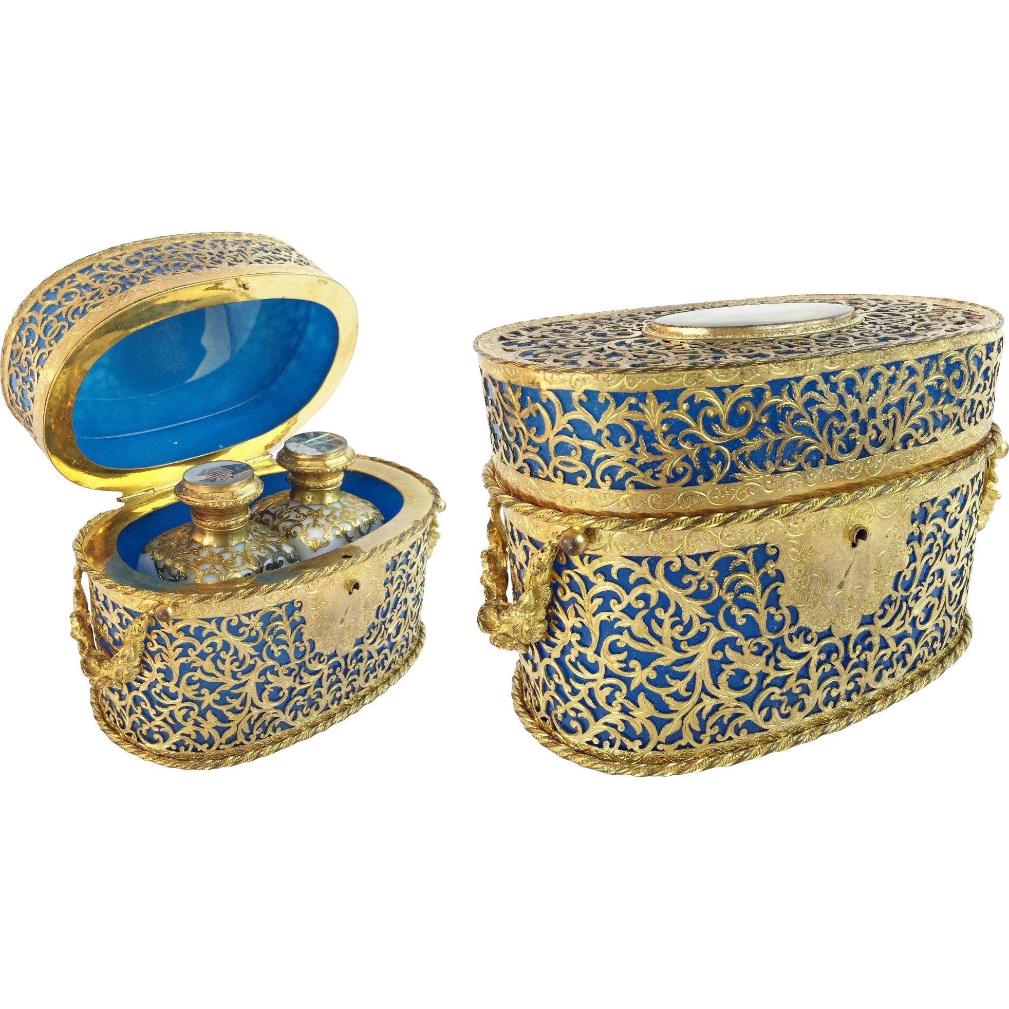 "LAYAWAY. 1880  Palais Royal Blue Opaline Scent Casket ""Covered in GILT ORMOLU LACE"""