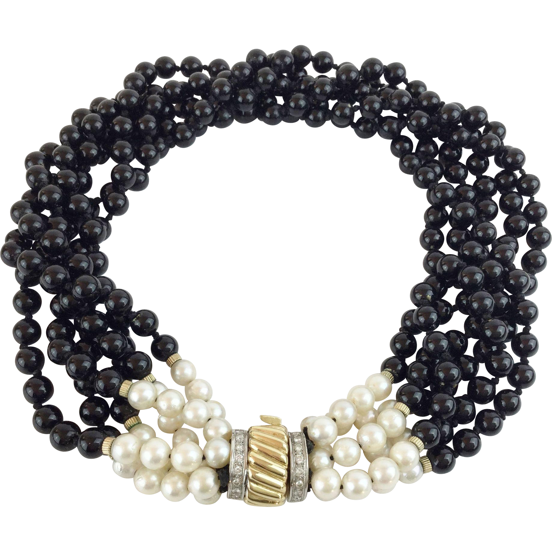 "16"" 14KARAT Yellow Gold, Diamond. Pearl, and Black Onyx ""ELEGANT & EXQUISITE"""