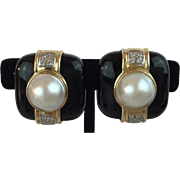 14KARAT Yellow Gold  Mabe Pearl, Diamond, &  Black Onyx Earrings