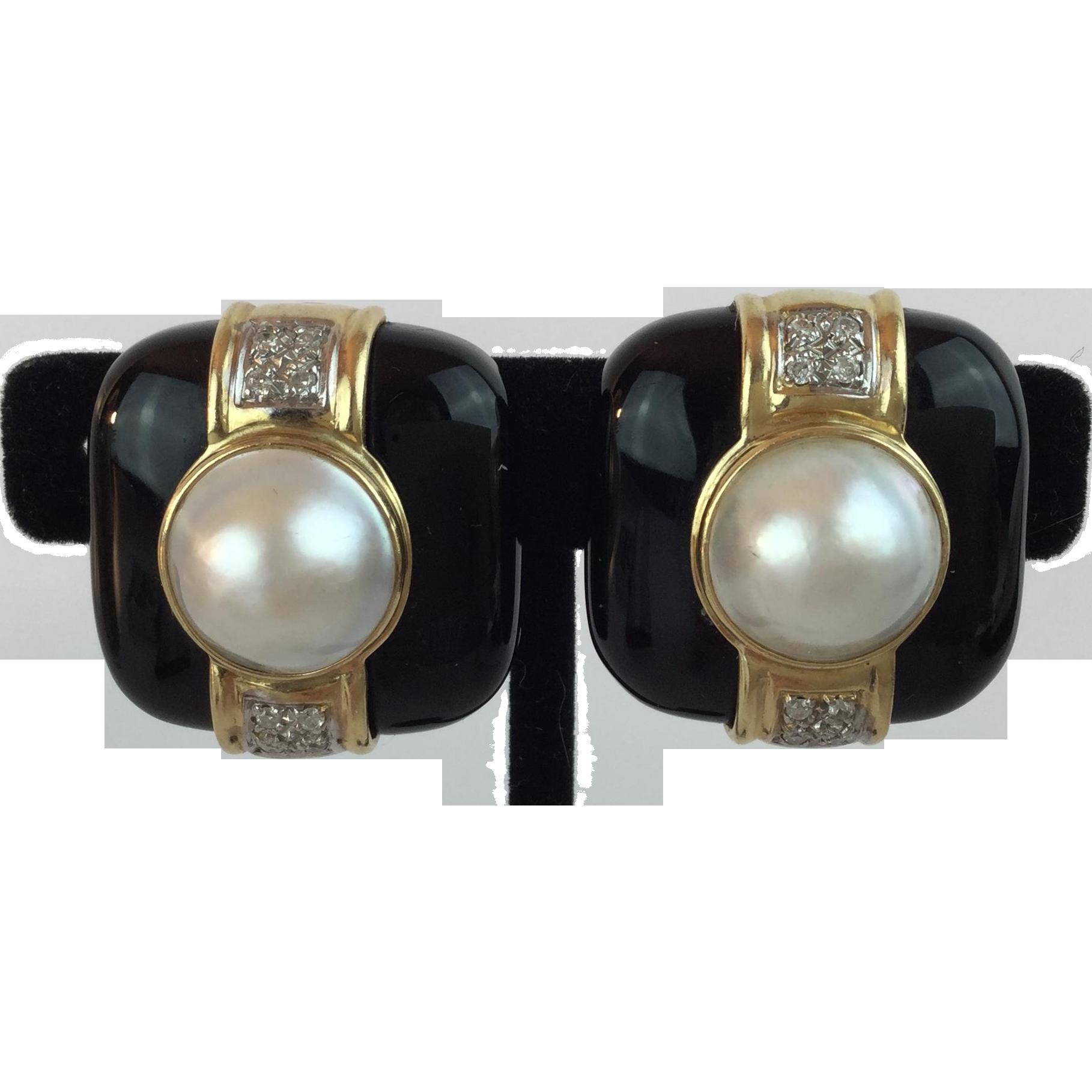 14KARAT Yellow Gold  Mabe Pearl, Diamond, &  Black Onyx Earrings