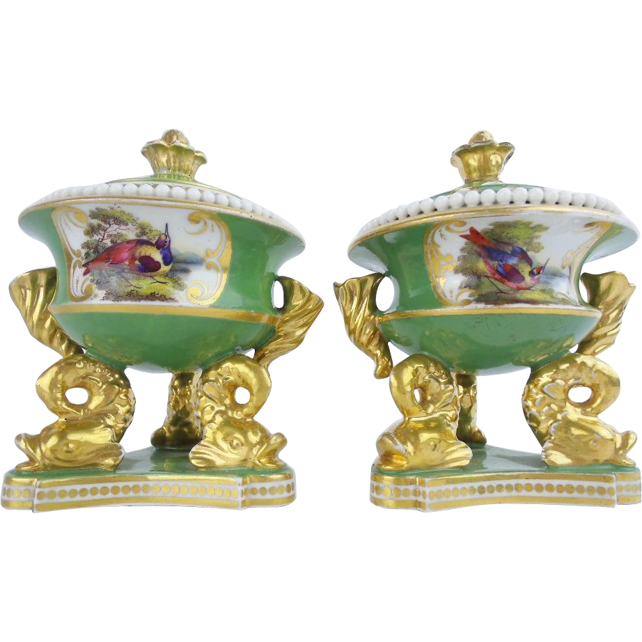 "Exquisite Chamberlain Worchester Porcelain Hand-painted Porcelain Desk Set  ""DOLPHINS & BIRDS"""