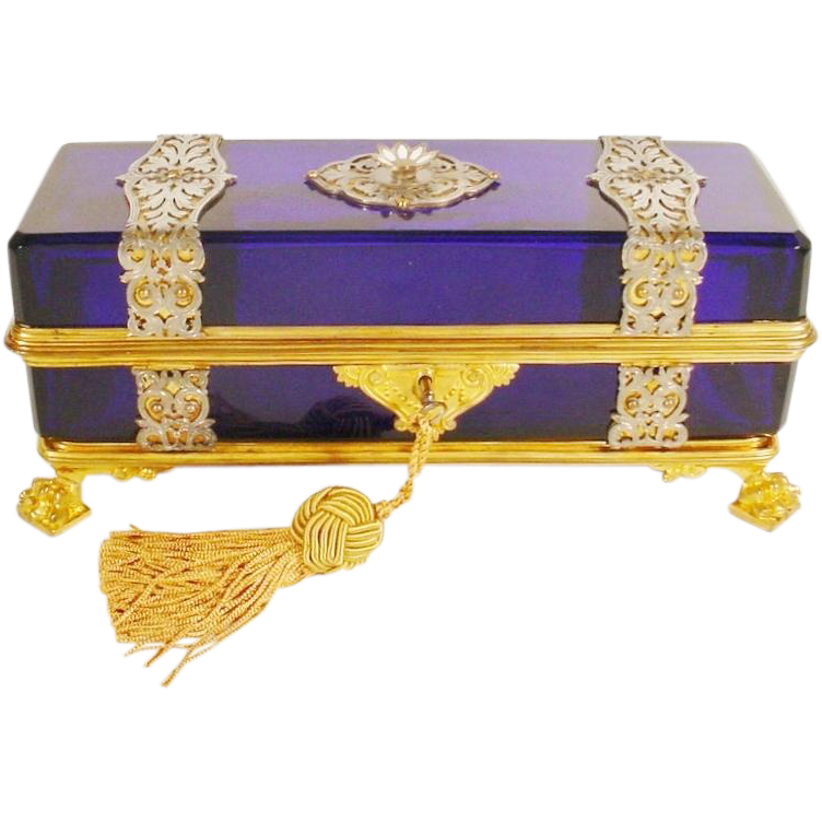 """1880  10 ½""""  French Cobalt Casket Hinged Box """"Wrapped in Silver and Gilt Ornate Straps """""""