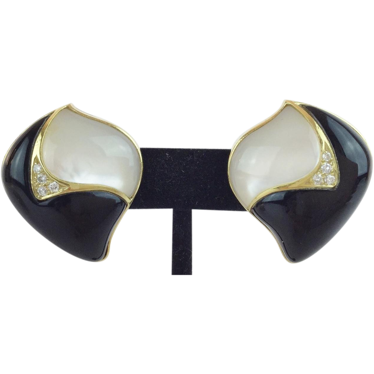 "Mother of Pearl and Black Onyx Earrings  Framed in 14KARAT Yellow Gold  ""MAGNIFICENT"""