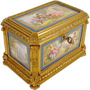 "Antique Sevres Styles Porcelain Bronze Casket ""FIVE PORCELAIN PLAQUES""  THE BEST!"
