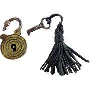Antique Miniature Brass Lock & Key