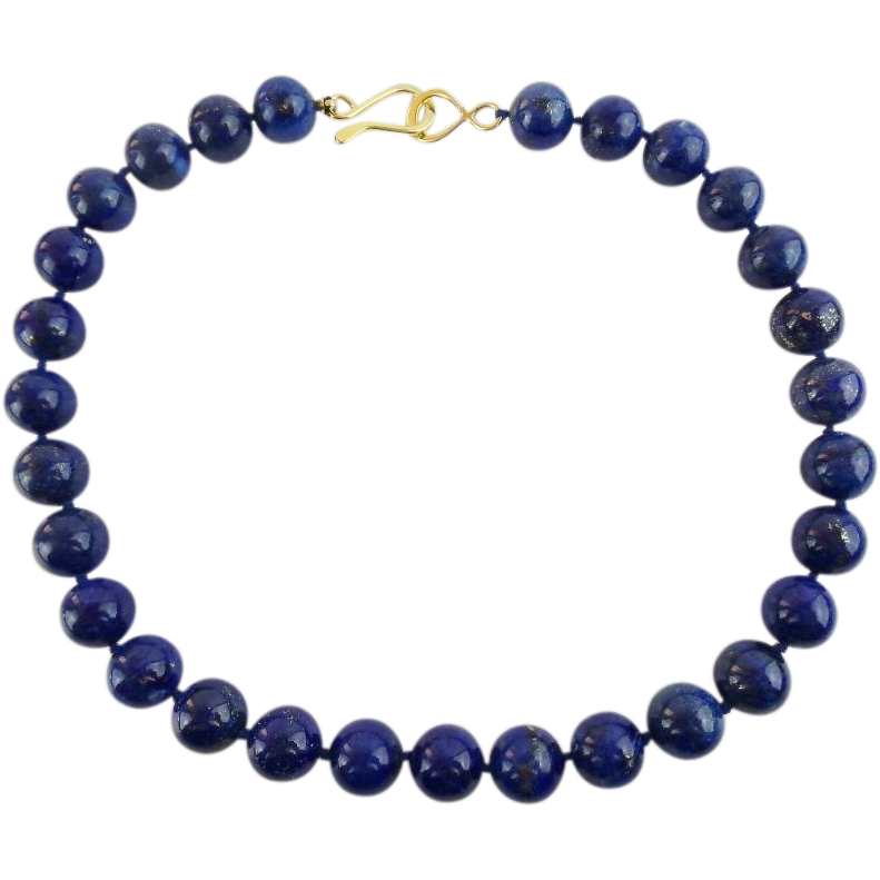 "Estate 16"" 12mm Lapis Lazuli Bead Necklace  ""BEAUTIFUL"""
