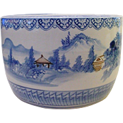 "Antique 19"" Japanese Porcelain Hibachi  ""BLUE & WHITE"""
