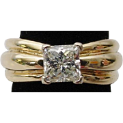 14KARAT Yellow Gold Solitaire 1 CARAT  Radiant Cut Diamond Ring