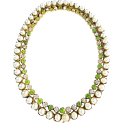 """Antique French Jeweled Oval Table Top Frame   """"Faux Pearls & Emeralds"""""""