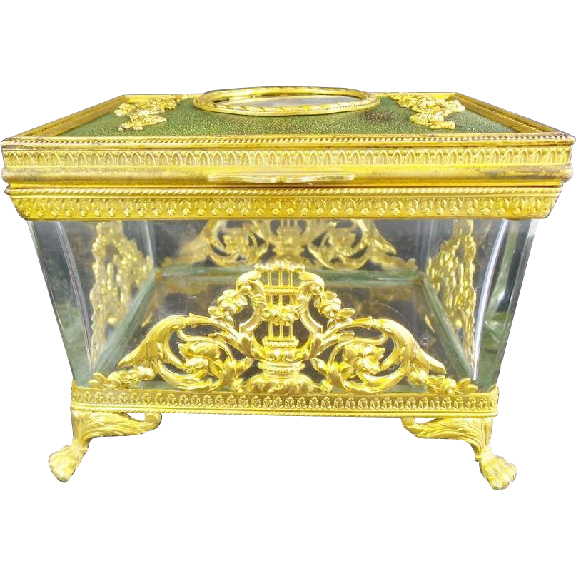 "Antique French Empire Style Portrait Casket  Hinged Box ""Marie Antoinette"""