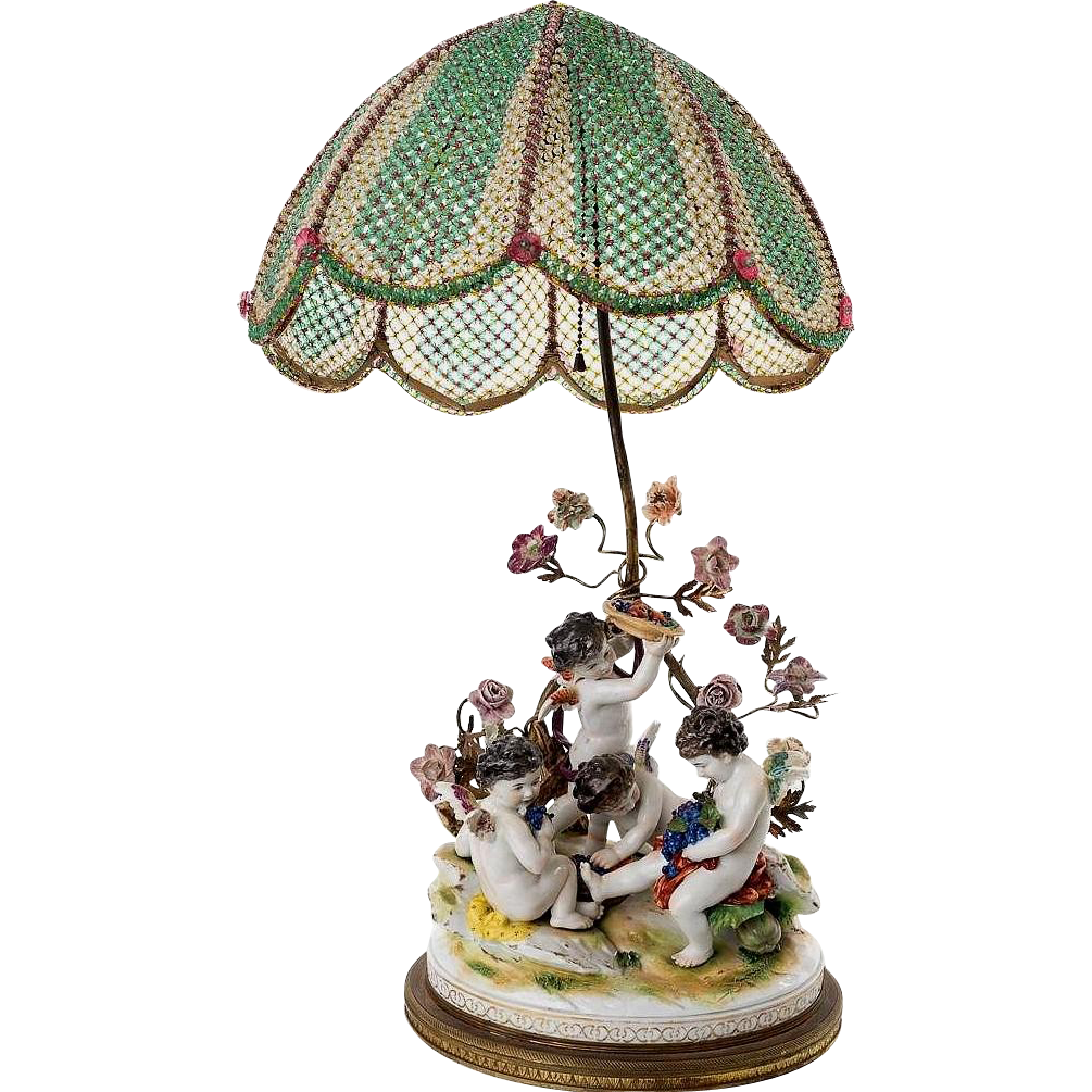 "Antique French Meissen  Style Porcelain Putti  Lamp ""Grandest Beaded Shade"" & Porcelain Flowers"""