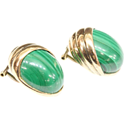 14KARAT Oval Cabochon Malachite Earrings 'BEAUTIFUL""