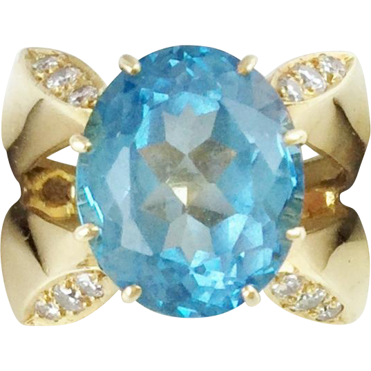 Estate 14KARAT Blue Topaz Diamond Ring