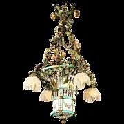 "LAYAWAY Antique French Porcelain Basket Tole Enameled Flower Chandelier  ""SATIN GLASS FLOWER SHADES"""