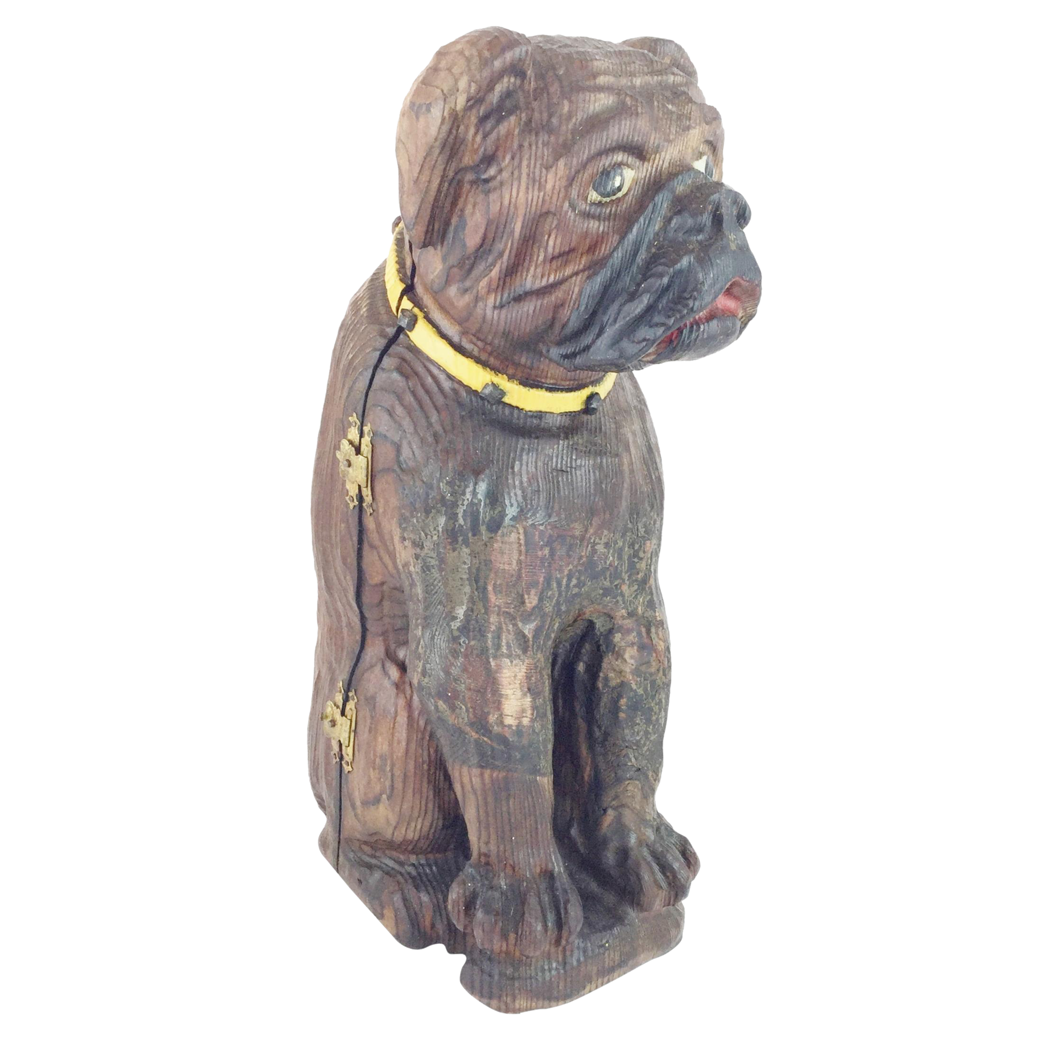 "15""Antique Carved Dog Tantalus  "" HE's BIG and ON THE JOB!"""