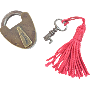 Antique Miniature Brass Lock & Key