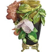 Antique Barbotine Vase…A RARE Barbotine Vase with a Footed Gilt Ormolu Base
