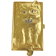 "18Karat  ""CAT"" Box   wDiamond Eyes  & Collar Bow"