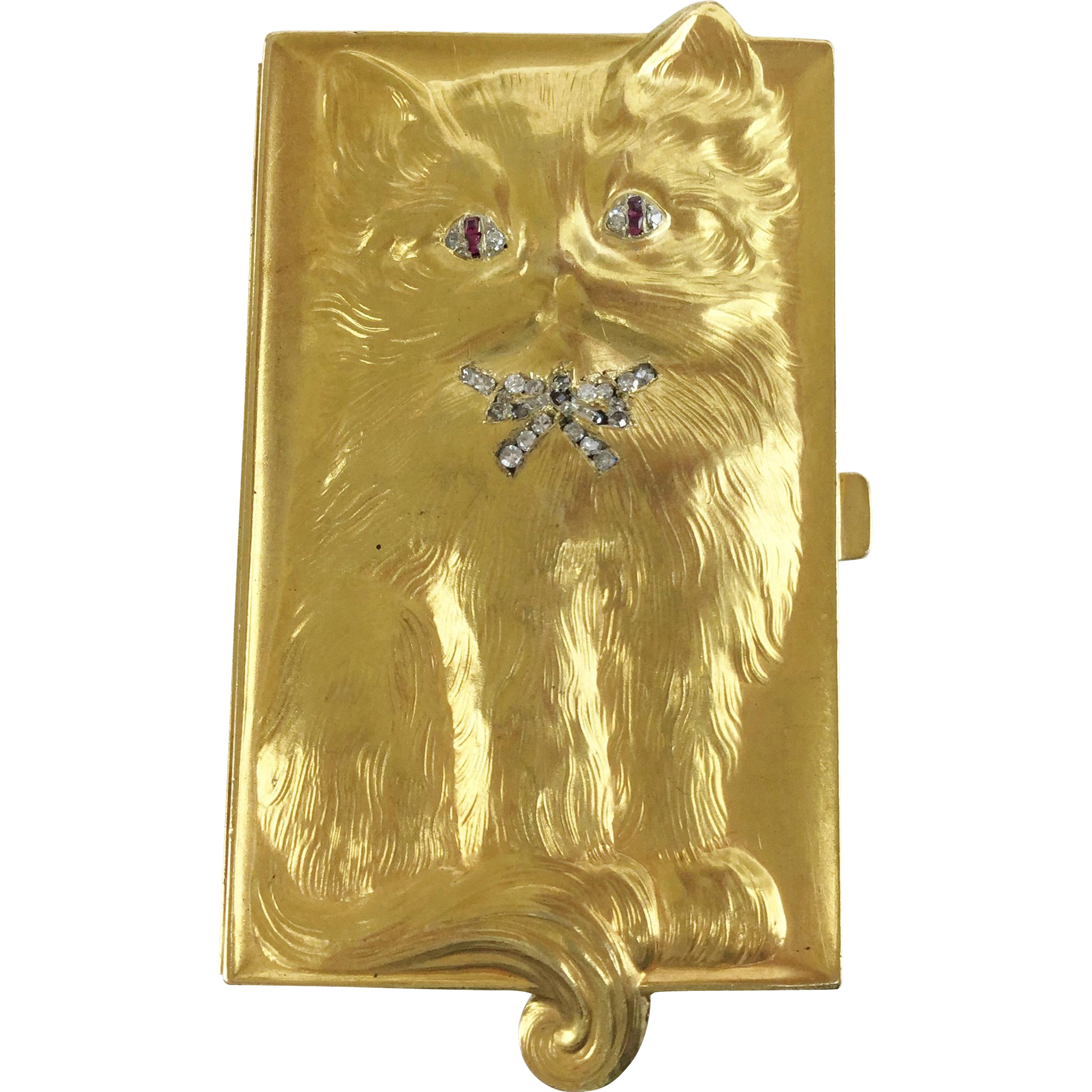 "18Karat  ""CAT"" Box   wDiamond Eyes  & Collar Bow"