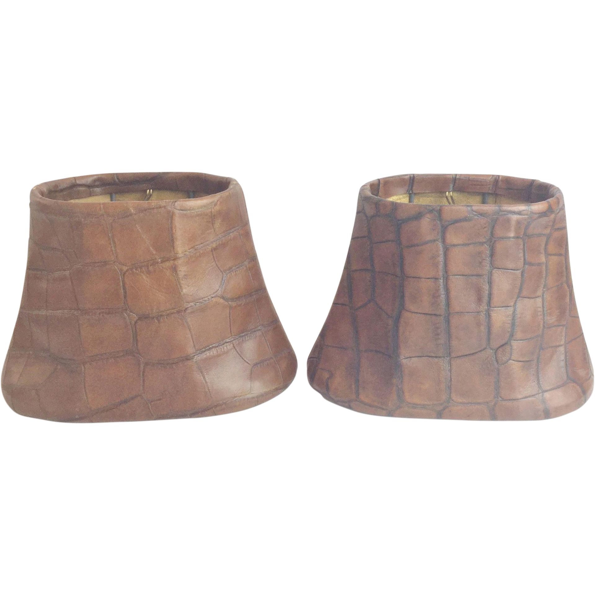 Vintage Faux Crocodile  Lamp Shades
