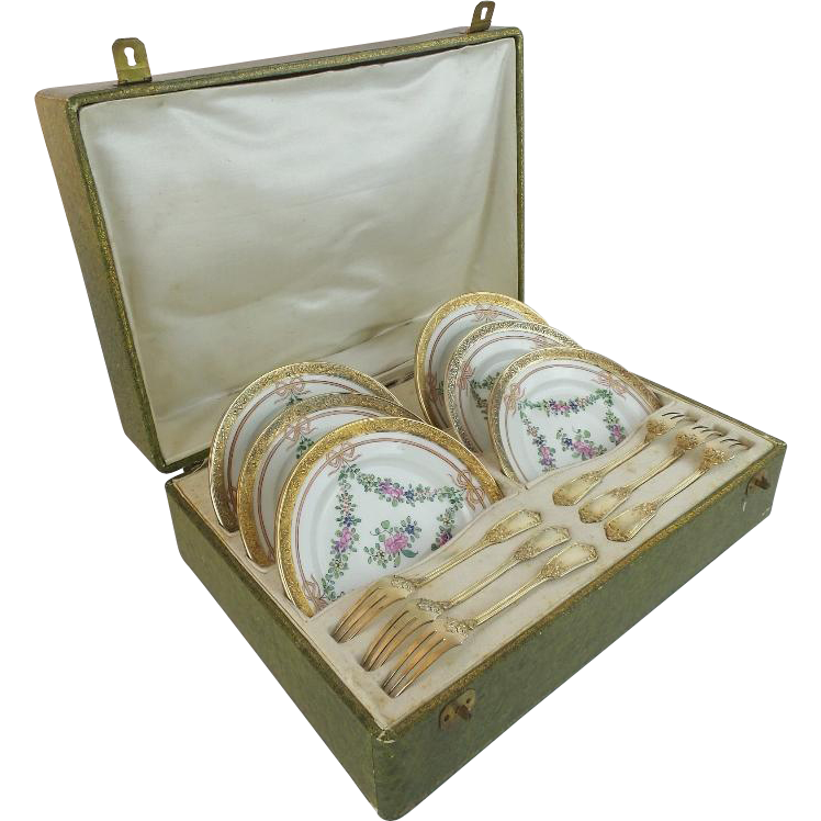 "Antique French Mechun C. P. & Co. Porcelain Dessert Service ""Original Presentation Case"""