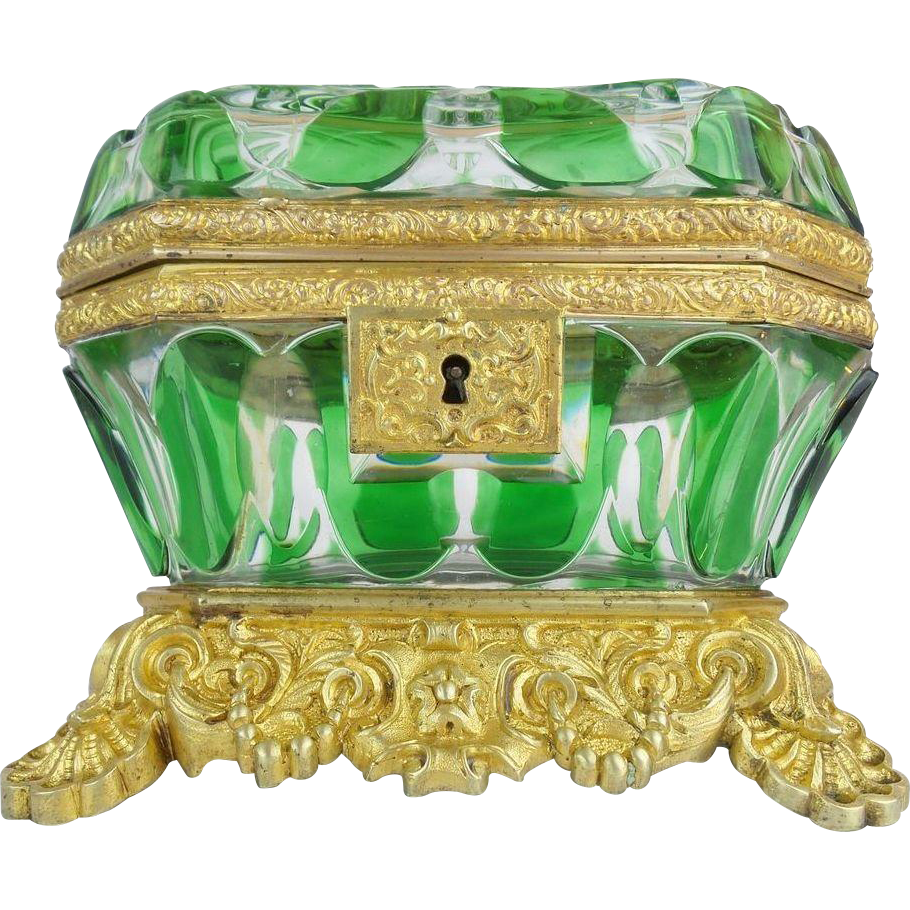 """Exquisite Antique Baccarat Cut Bronze Casket Hinged Box. """" THE BEST & RAREST"""""""
