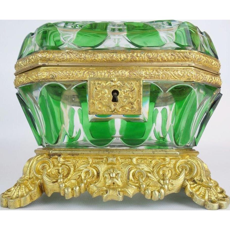 "Exquisite Antique Baccarat Cut Bronze Casket Hinged Box. "" THE BEST & RARE"""