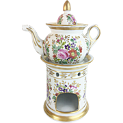 "Antique French Veilleuse Teapot ""Flowers & Pretty Gliding"""