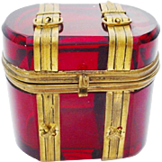 "Antique Bohemian Ruby Hinged Box ""Miniature Trunk Shape with Buckle & Straps"""