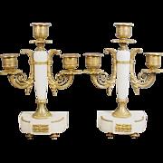 "Antique French 10"" Marble Bronze Three Light Candelabra Pair"