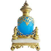 """BIG Palais Royal Blue Opaline Scent Bottle 'REGAL FOOTED  STAND"""""""