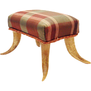 Antique Foot Stool with HORN LEGS
