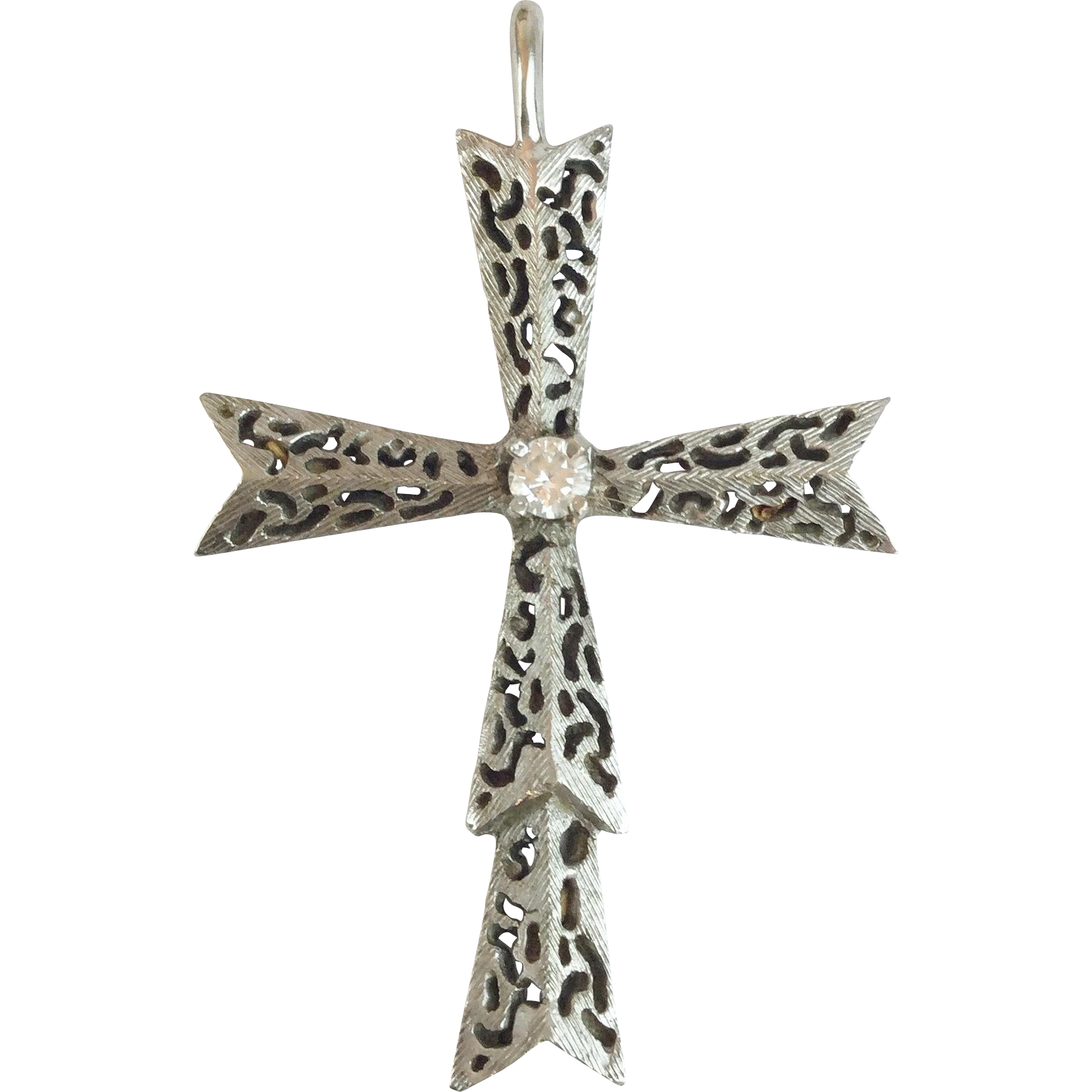 14KARAT White Gold Diamond Cross
