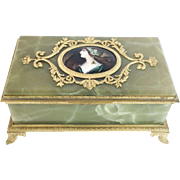 "Antique Green Onyx Jewelry Box ""THREE PORTRAITS"" ."