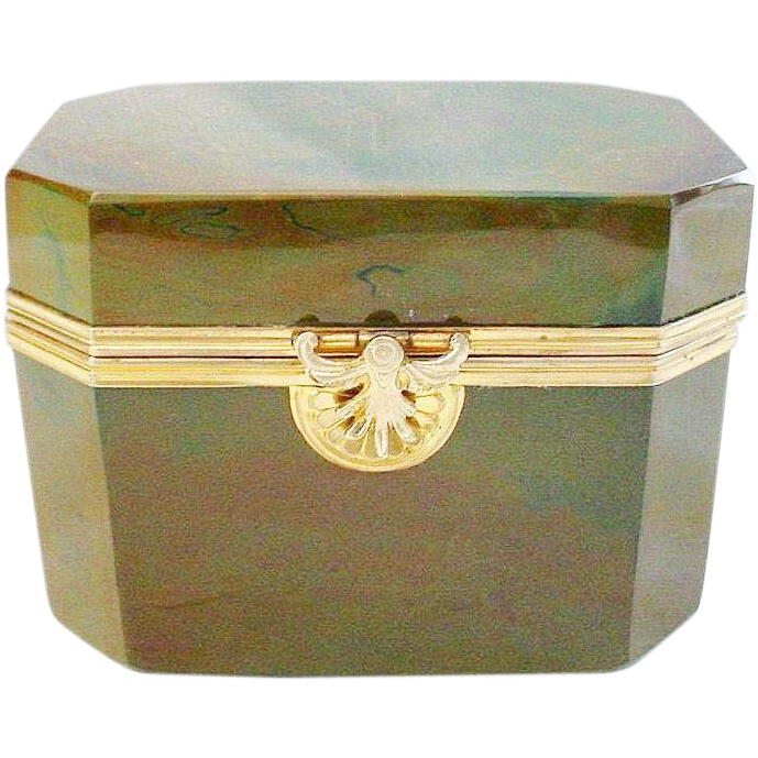 Rare 1845 Fredrich Egernann Lithyalin Glass Sugar Box Casket