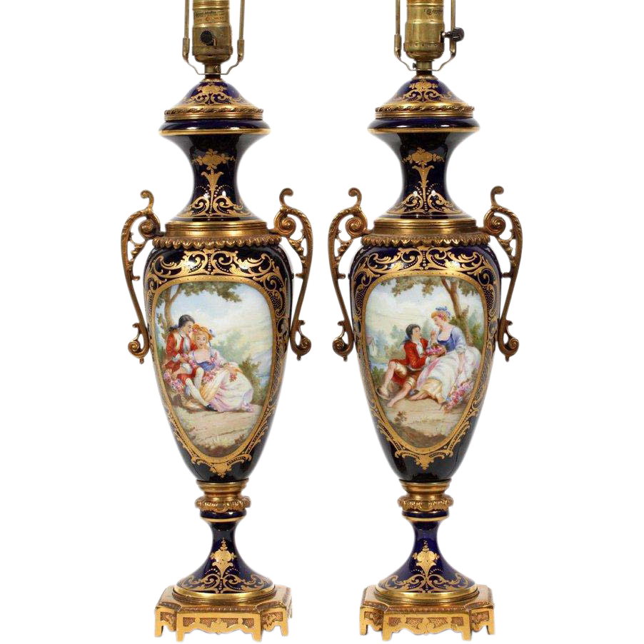 "Magnificent 31"" Sevres Hand painted Porcelain Lamps"