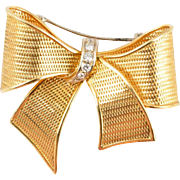 18KARAT Yellow  Gold &  Diamond BOW Brooch