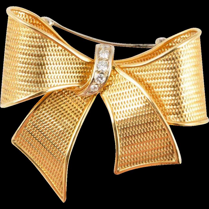 18KARAT Yellow  Gold &  Diamond BOW Brooch