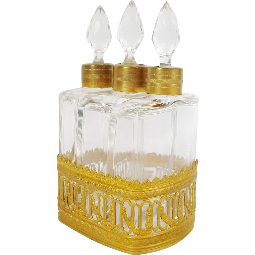 "Antique French Scent Caddy  "" Three Bottles"""