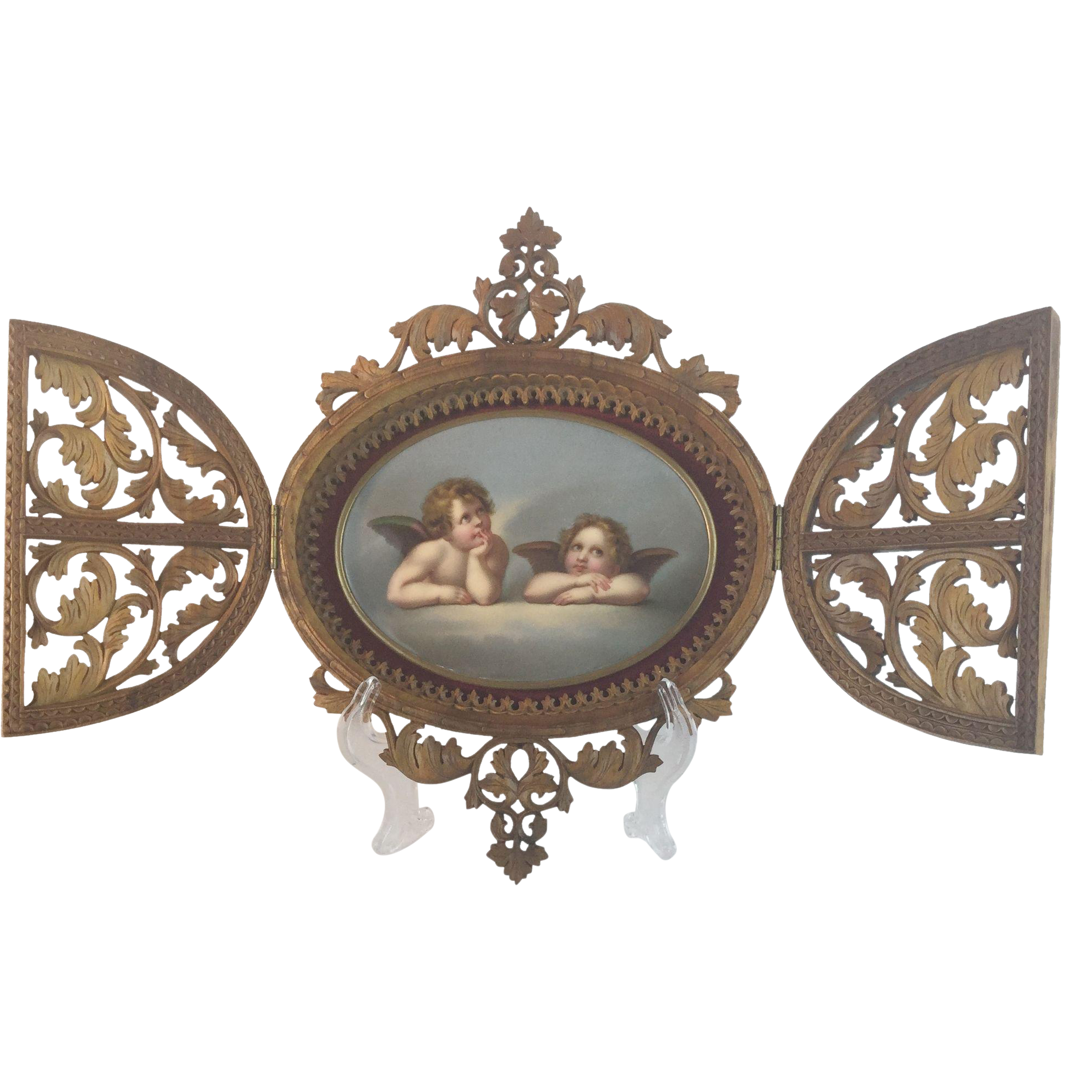 Antique Double Door Carved Frame w Oval Hand Painted  Cherubs Porcelain Plaque