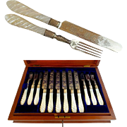"1890  Sterling & Mother Of Pearl Fish Set for 12 ""John Aldwinckle & Thomas Slater, London, England"""