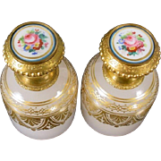 "Palais Royal Opaline Sent Bottles  ""AWESOME PAIR! """