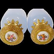 "Antique French Lavender Opaline Scent Bottles with Porcelain Top ""RARE COLOR"""